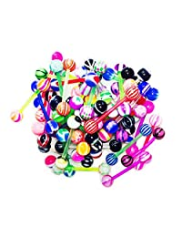 BodyJ4You 10-100PC Tongue Barbells Nipple Rings 14G Mix Acrylic Ball Steel Flexible Piercing Jewelry