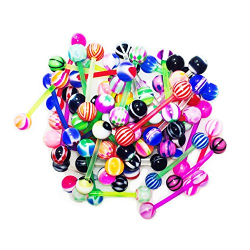 BodyJ4You 100PC Tongue Barbells Nipple Rings 14G Mix Acrylic Ball Flexible Bar Body Piercing - Barbell Acrylic