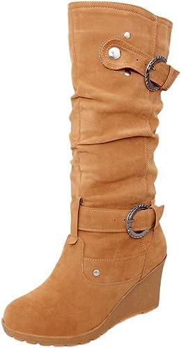 Mesdames nouveau pour femme talon plat fermeture éclair haut tricoté hiver cheville bottes chaussures taille