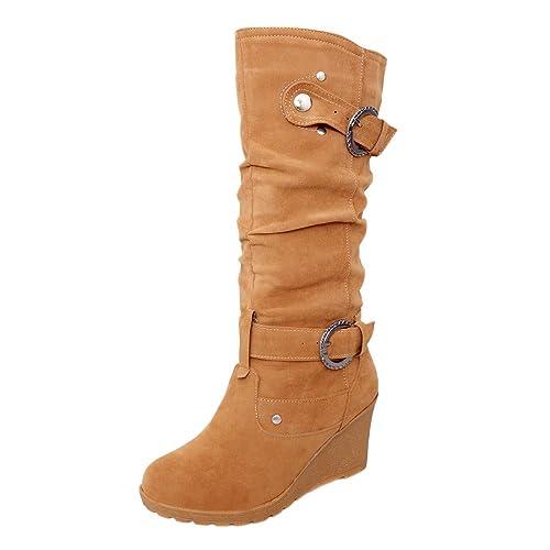 dcf3bcb51 Botas Mujeres Invierno Zapato Plano Redondo Dedo del pie Espesor cuñas  señoras Tubo Largo Ankle Botas