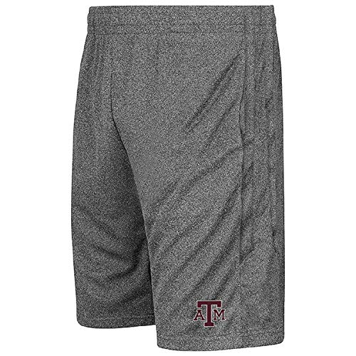- Colosseum NCAA Youth-Boys and Girls-Athletic Training Shorts-Heather Grey-Texas A&M Aggies-Youth Large
