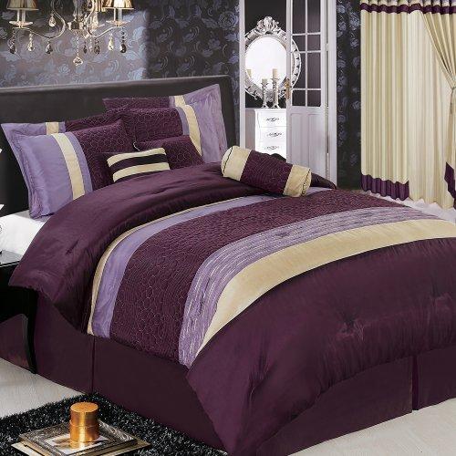 Sonata Comforter Set - Egyptian Cotton Factory Outlet Store Sonata 7-Piece Purple Luxury King Comforter Set
