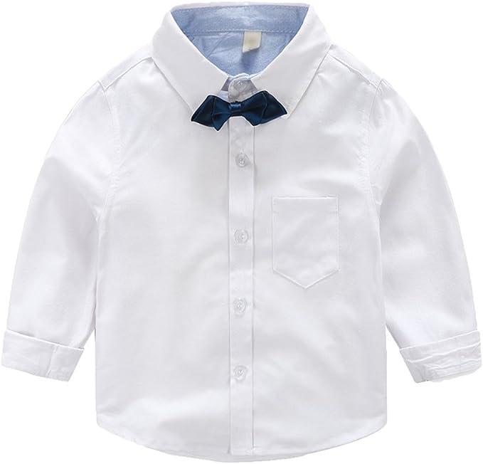 WanYang Manga Larga Camisa para Viento Escolar Niños Bebé Corbata ...