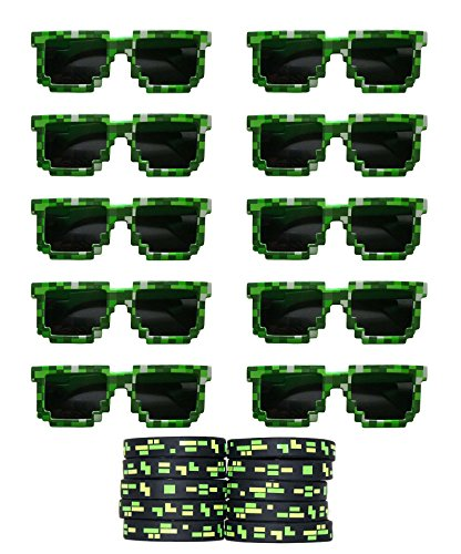 Gypsy Jade's 8-Bit Pixelated Sunglasses Birthday Party Favors (Set of 10 Pairs) with 10 Pixelated Wristbands Included - Party Bag Fillers for Miner Themed -