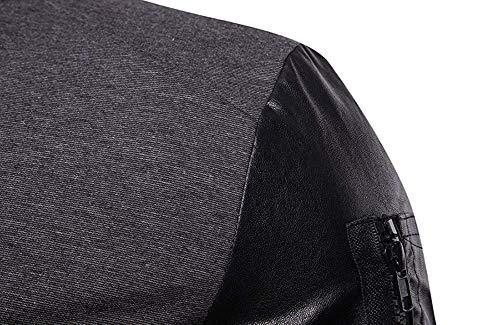 Coutures Cardigan Pu coloré Montant En Vêtements Xx Veste Courtes Oudan Taille Col Zippée De Plein Cuir Gris Manches Air Gris large q0vg8qZ5n