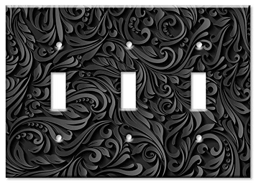 Art Plates Brand Triple Gang Toggle Switch/Wall Plate - Black ()