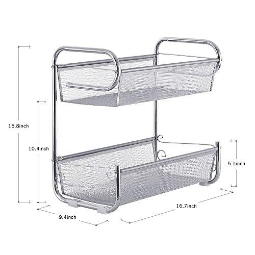 NEX Countertop Organizer Spice Can Jars Bottle Shelf Holder Rack for Kitchen Bathroom Desktop 2 Tier Metal Mesh Silver