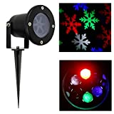 Laser Christmas Lights - Outdoor Landscape Lights Show Snowflakes with Color of White - Red - Green and Blue IP65 Waterproof LED Lights