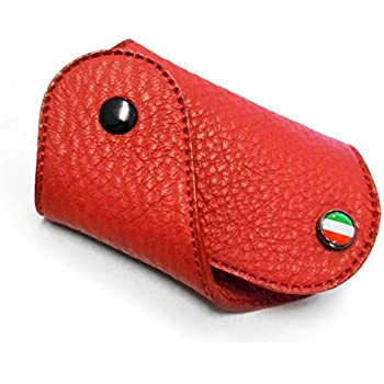 Red Leather Key Fob for Fiat 500 Abarth, 500 Turbo, 500 Sport, 500 Pop Lounge, 500L - Flag Italy