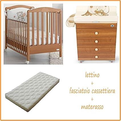 Azzurra Design - Conjunto de cuna de madera, cambiador con cómoda Asia y colchón desenfundable