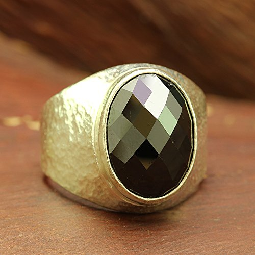 (925 Solid Sterling Silver Gemstone Statement Mens, Women, Unisex Ring Natural Faceted Black Onyx Heavy Weight Hammered Handcrafted Artisan Fine Jewelry)