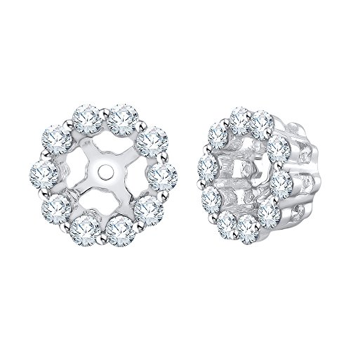 Diamond Earring Jackets in 14K White Gold (3/8 cttw) (Color IJ, Clarity I1) by KATARINA (Image #1)