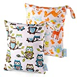Wet Dry Bag Splice Cloth Diaper Wet Bags Waterproof Double Infant Stroller Travel Small Size Zipper Snap Handing for Swimwear Bathing Suit Baby Kids Reusable (Giraffe and Owls)