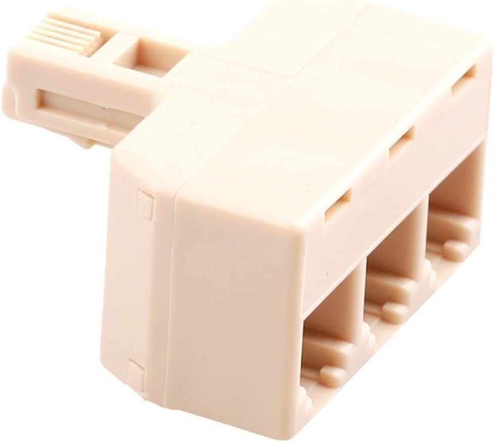 Tcplyn RJ11 6P4C Telephone Adapter Male to 3 Female Telephone Connector Plug Telephone Line Splitter