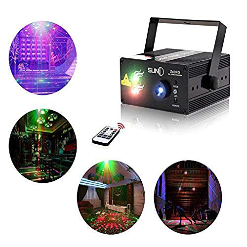 Laser Lights Led Projector,40 Patterns RG Laser DJ Stage Lighting,3 Sources Apertures Lens Red and Green Show With Blue Auto Sound Activated, Best For Disco/Wedding/Birthday/Family Party/Clubs etc -