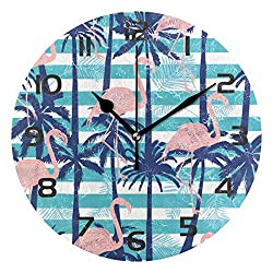 Dozili Animal Flamingo Tropical Palm Decorative Wooden Round Wall Clock Arabic Numerals Design Non Ticking Wall Clock Large for Bedrooms, Living Room, Bathroom