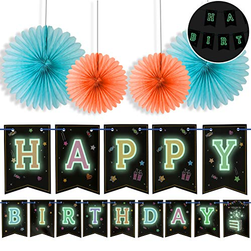 Glow In The Dark Happy Birthday Banner (Happy Birthday Banner With 4 Fans,Glow In The Dark UV Party Decoration Happy Birthday Glowing bunting Carnival/Kids Party Supplies Favors Colors Hanging Decoration by)