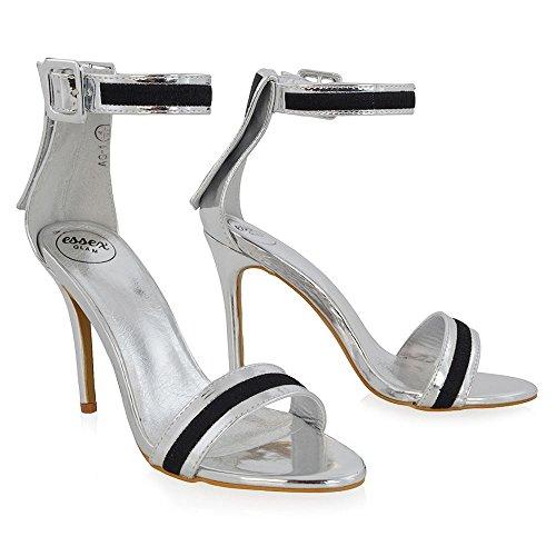 ESSEX GLAM Mujer Correa de Tobillo Estilete Sintético Fiesta Zapato Plata Metálico