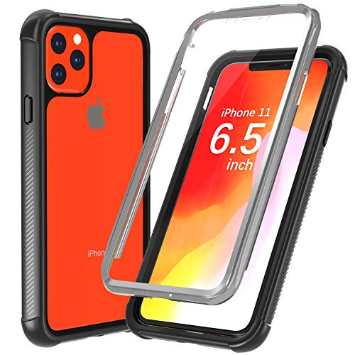 Justcool Designed for iPhone 11 Pro Max Case, Clear Full Body Heavy Duty Protection with Built-in Screen Protector Shockproof Rugged Cover Designed for iPhone 11 Max Case 6.5 inch 2019