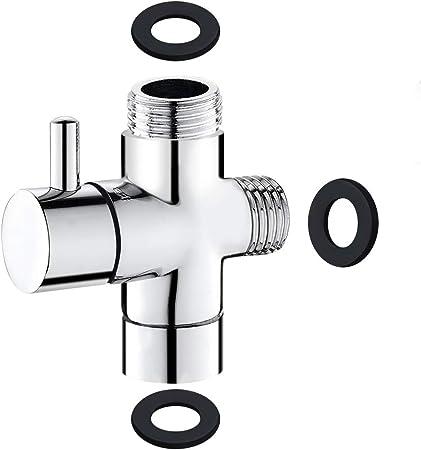 Desviador de 3 v/ías de lat/ón Cromado Adaptador en Forma de T de 1//2 Pulgada Desviador de Adaptador de Brazo de Ducha de Metal para Brazo de Ducha montado V/álvula de desv/ío de Cabezal de Ducha