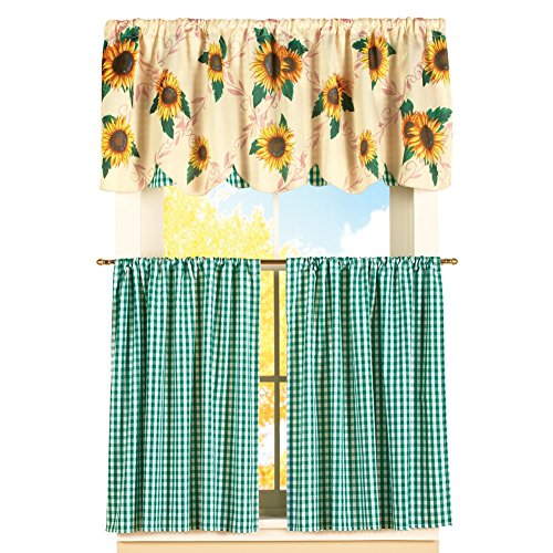 Checkered Sunflower Tier Cafà Curtain Set, 24″L Tiers