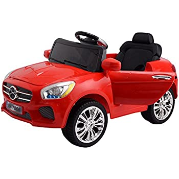 costzon red 6v kids ride on car rc remote control battery powered w led lights