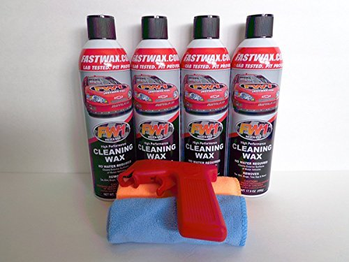 Spray Fast Wax Car (FW1 Wash and Wax with Carnauba by Fast Wax (4 Pack) with Microfiber Towels and Can Gun Spray Attachment Included)