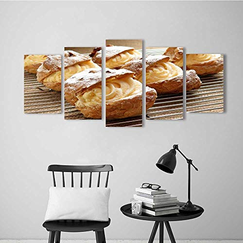 Five Pieces Wulian Painting Living Room Decoration Frameless Creamy Bread for Living Room Office Decor Gift