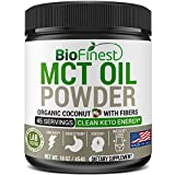 Biofinest MCT Oil Powder with Fiber - Supplement for Keto Diets - 0g Net Carbs Organic Non-GMO Gluten Free - Boost Digestion Appetite Control - Perfect Keto Coffee Creamer Smoothie (16oz)