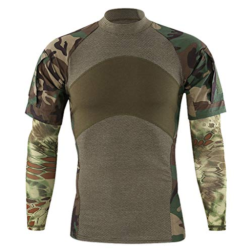 AMSKY T-Shirts for Men Graphic,Mens Camouflage Patchwork Short Sleeve with Arm Cover Sleeves Shirt Top Blouse,Men's Activewear,Camouflage,M