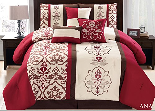 Fancy linen 7 Pc Embroidery Beige Red Brown Comforter set