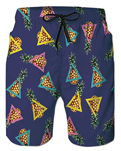 (Beach Trunks for Men Boy College Student 3D Digital Printed Yellow Pineapple Ananas Blue Rose Red Graphic Shorts Elastic Floral Swimming Pants with The Big Side Pocket Casual Athletic Gym Sportswear)