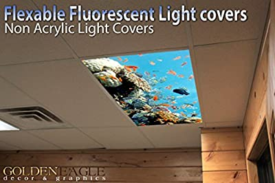 Reef 2 - 2ft x 4ft Drop Ceiling Fluorescent Decorative Ceiling Light Cover Skylight Film