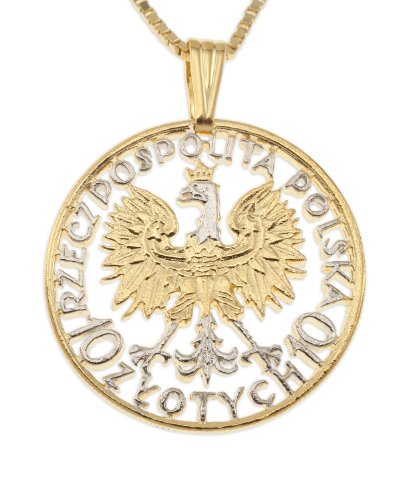 - The Difference World Coin Jewelry Polish Eagle Pendant & Necklace, Poland 10 Zlotych Hand Cut, 1 1/4