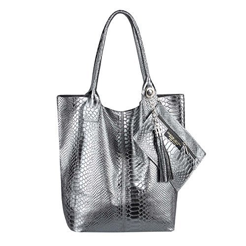 OBC Only-Beautiful-Couture - Bolso al hombro para mujer Lila 42x35x16 ca.: 42x35x16 cm (BxHxT) gris oscuro (SERPIENTE)
