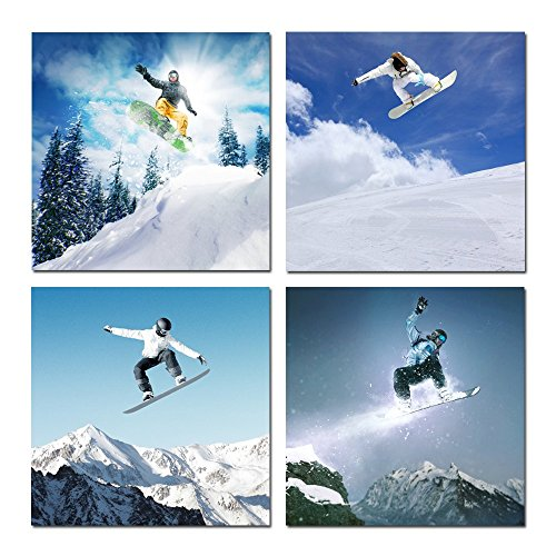 Hello Artwork - Canvas Wall Art Snowboard Winter Sports for Home Decor Surprise Artwork Modern Snow Mountain Ski Canvas Print Landscape Picture Framed Ready to Hang 4pcs/set (12''x12''x4pcs/set)