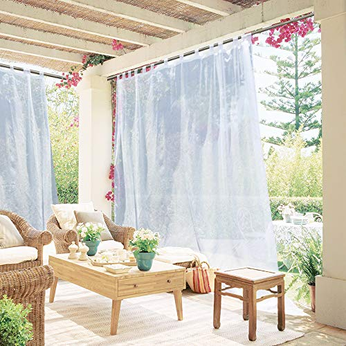 NICETOWN Extra Long Outdoor Drape - Tab Top Indoor Outdoor Waterproof Sheer Curtain Panel with Rope Tieback for Pergola, Front Porch (1 Piece, 100 x 96 Inch in White) (Porch Pergola)