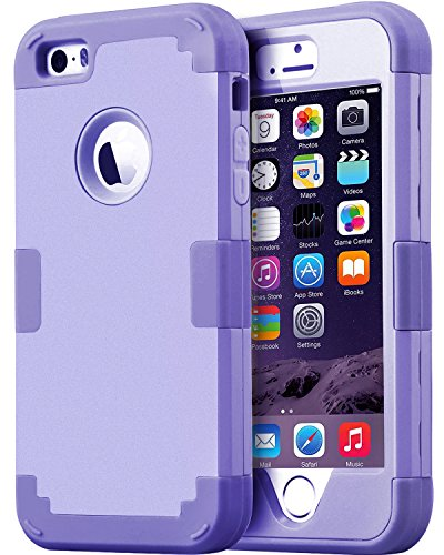 iPhone 5S Case, iPhone SE Case, iPhone 5 Case, BENTOBEN Anti-scratch Drop Protection 3 in 1 Hybrid Hard PC Shell Soft Silicone Shockproof Protective Case for iPhone SE / 5S / 5, Purple