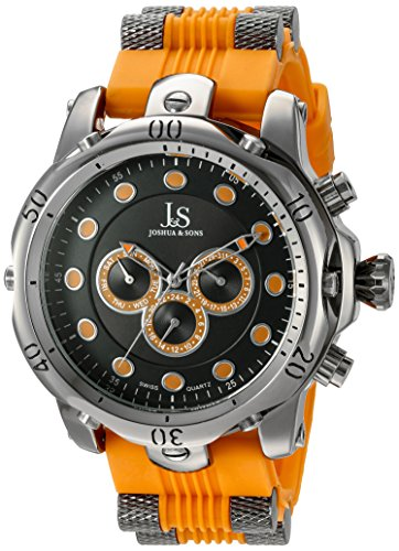 Joshua & Sons Men's JS71OR Silver Multifunction Swiss Quartz Watch with Black and Orange Dial and Bracelet