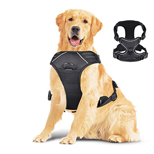 Creaker Large Dog Harness, No Pull Adjustable Pet Reflective Oxford Material Soft Vest Harness for Large Dogs For Sale