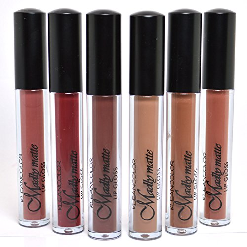 KLEANCOLOR FULL 6 SHADES MADLY MATTE LIP GLOSS NATURAL NUDE BEIGE BROWN LIQUID LG1815 + FREE ()