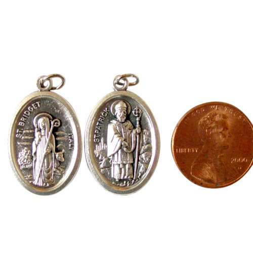 Patrick Medal Ring - Blessed By Pope Francis Double Irish Saint Bridget Brigid Ireland Patron and St Patrick Silver Oxi Medal