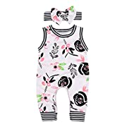 AILOM Newborn Infant Baby Boys Girls Flower Print Stripe Sleeveless Romper Summer Bodysuit Jumpsuit Outfits With Headband (White, 6-12 M)