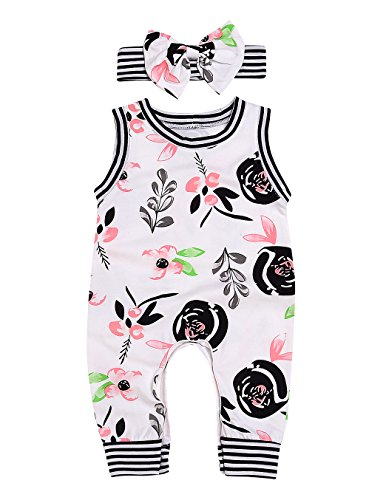 AILOM Newborn Infant Baby Boys Girls Flower Print Stripe Sleeveless Romper Summer Bodysuit Jumpsuit Outfits With Headband (White, 0-6 (Newborn Baby Girl Wishes)