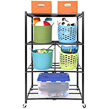 Origami R1407WL2-BLA 4 Tier Steel Collapsible Storage Rack