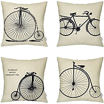 4 Packs Hippih Cotton Linen Sofa Home Decor Design Throw Pillow Case Cushion Covers 18 X 18 Inch ,4 x Bike