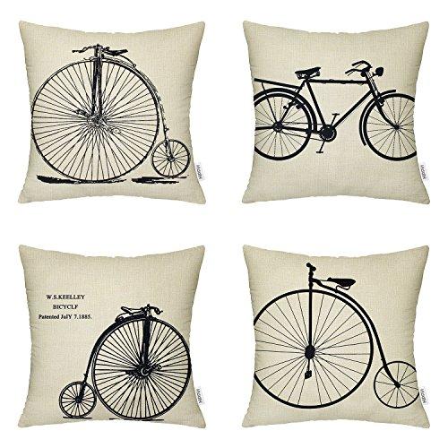 Decor Pillow Cover - 4 Packs Hippih Cotton Linen Sofa Home Decor Design Throw Pillow Case Cushion Covers 18 X 18 Inch ,4 x Bike