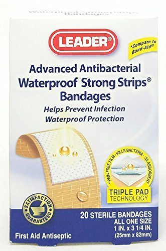 Aso Adhesive - Leader Strong Strip Adhesive Bandages, Waterproof, 20 Count Per Box by Leader