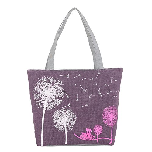 Hjuns Cozy Canvas Shoulder Zipper Boat Tote shopper Bag , 4Colors (Blue) Purple