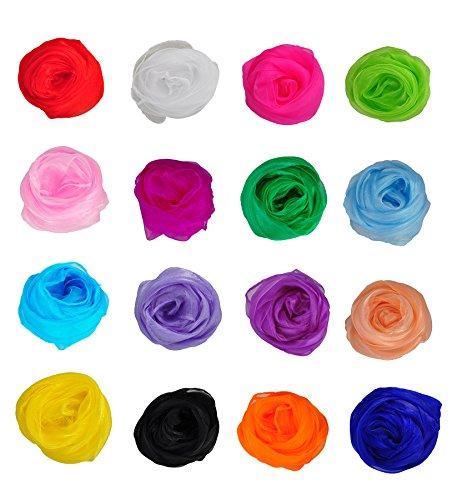 HERRICO Silky Fashionable Soft Lightweight Brightly Coloured Rhythm Scarf Multicolor 16PCS